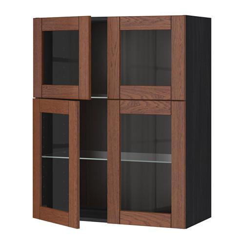 МЕТОД Навесной шкаф с полками/4 стекл дв - под дерево черный, Филипстад коричневый