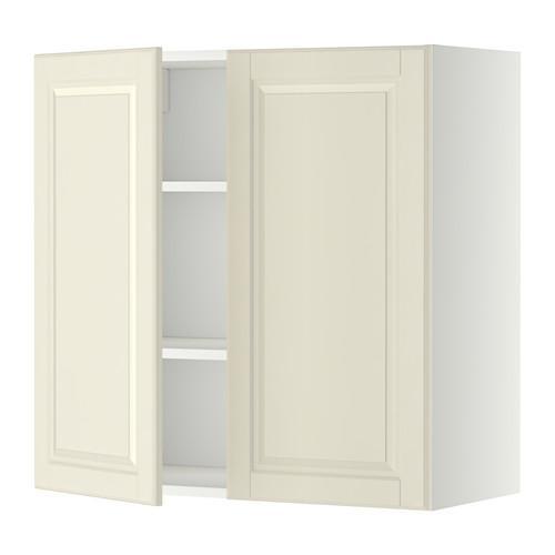 МЕТОД Навесной шкаф с полками/2дверцы - 80x80 см, Будбин белый с оттенком, белый