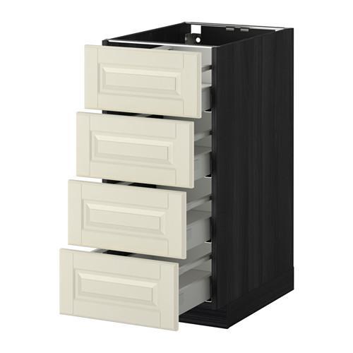 МЕТОД / МАКСИМЕРА Напольн шкаф 4 фронт панели/4 ящика - 40x60 см, Будбин белый с оттенком, под дерево черный