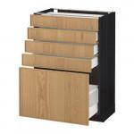 МЕТОД / МАКСИМЕРА Напольный шкаф с 5 ящиками - 60x37 см, Экестад дуб, под дерево черный