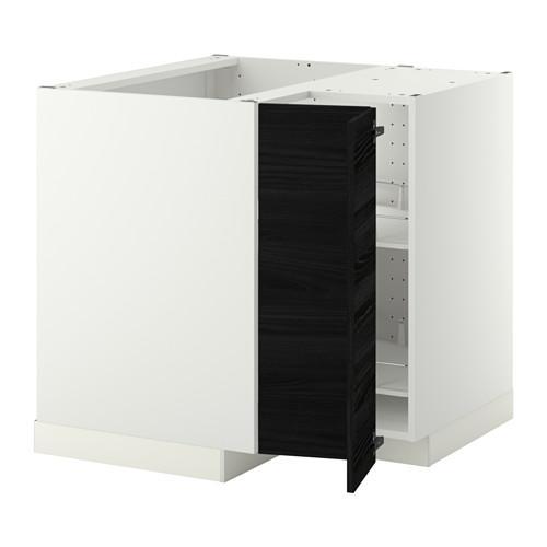 МЕТОД Угл напольн шкаф с вращающ секц - Тингсрид под дерево черный, белый