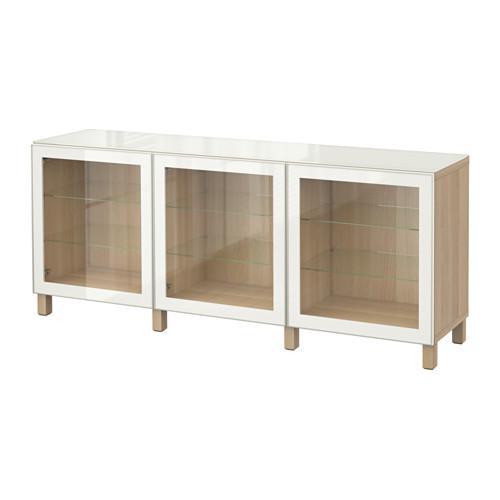 БЕСТО Комбинация для хранения с дверцами - под беленый дуб/Глассвик белый прозрачное стекло