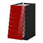 МЕТОД / ФОРВАРА Наполн шкаф 8 фронт/8 низк ящиков - 40x60 см, Рингульт глянцевый красный, под дерево черный