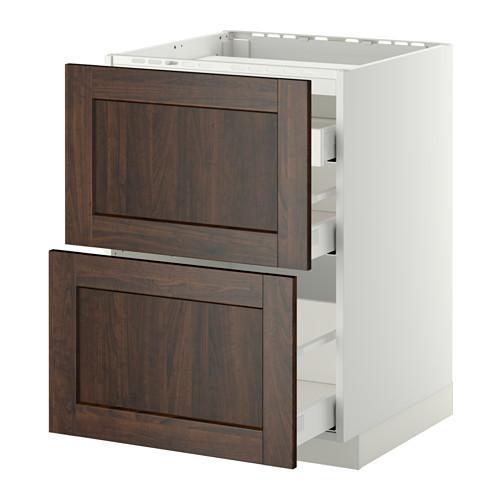МЕТОД / МАКСИМЕРА Напольн шкаф/2 фронт пнл/3 ящика - 60x60 см, Эдсерум под дерево коричневый, белый