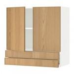 МЕТОД / ФОРВАРА Навесной шкаф/2дверцы/2ящика - 80x80 см, Экестад дуб, белый