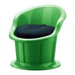 ПОПТОРП Кресло с подушкой-сиденьем - зеленый/черный