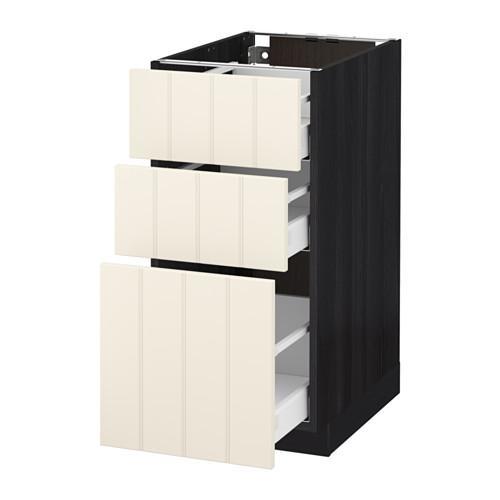 МЕТОД / МАКСИМЕРА Напольный шкаф с 3 ящиками - 40x60 см, Хитарп белый с оттенком, под дерево черный