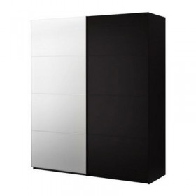 PAX wardrobe with sliding doors - Pax Malm black-brown / mirror glass, black-brown, 200x66x236 cm