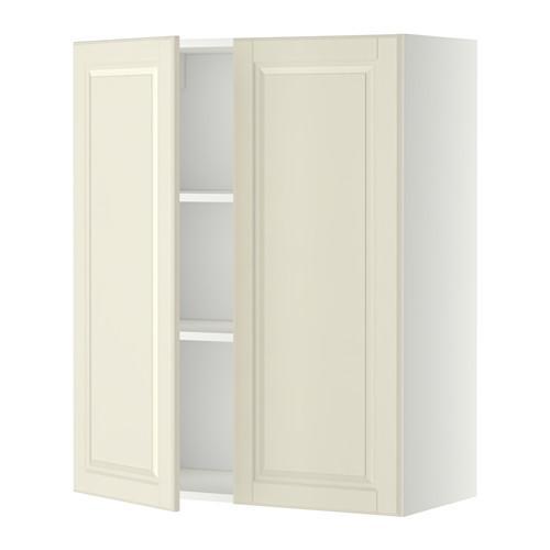 МЕТОД Навесной шкаф с полками/2дверцы - 80x100 см, Будбин белый с оттенком, белый