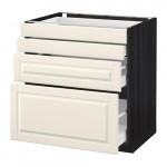 МЕТОД / МАКСИМЕРА Напольн шкаф 4 фронт панели/4 ящика - 80x60 см, Будбин белый с оттенком, под дерево черный