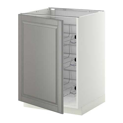 МЕТОД Напольный шкаф с проволочн ящиками - 60x60 см, Будбин серый, белый
