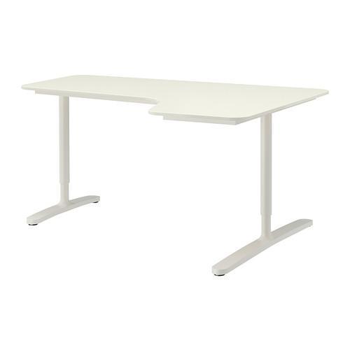 БЕКАНТ Углов письм стол правый - белый
