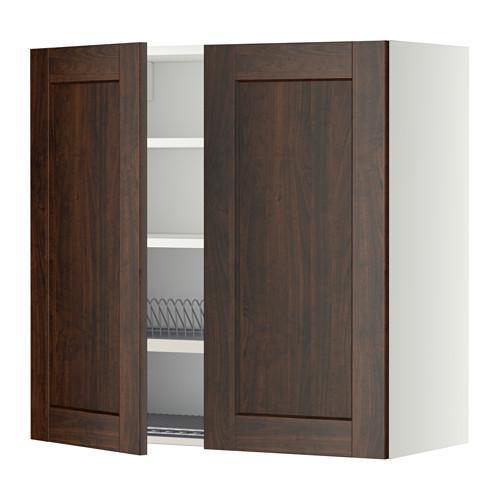 МЕТОД Навесной шкаф с посуд суш/2 дврц - 80x80 см, Эдсерум под дерево коричневый, белый