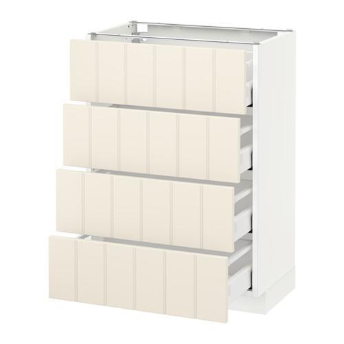 МЕТОД / МАКСИМЕРА Напольн шкаф 4 фронт панели/4 ящика - 60x37 см, Хитарп белый с оттенком, белый