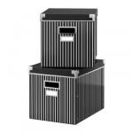 КАССЕТ Коробка с крышкой - черный/белый, 27x35x26 см