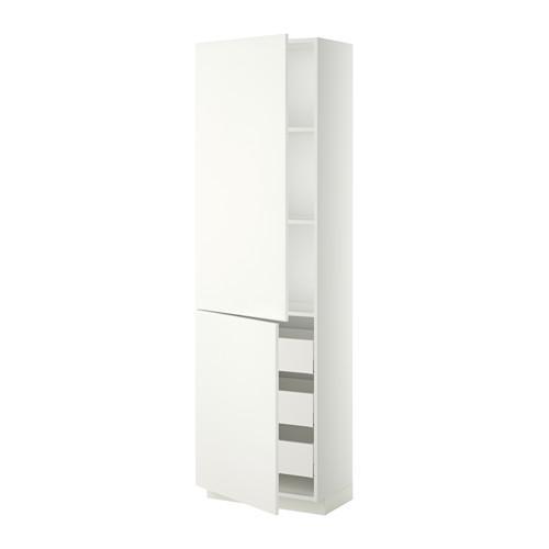 МЕТОД / МАКСИМЕРА Высокий шкаф+полки/3 ящика/2 дверцы - 60x37x200 см, Хэггеби белый, белый