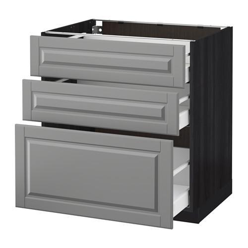 МЕТОД / МАКСИМЕРА Напольный шкаф с 3 ящиками - 80x60 см, Будбин серый, под дерево черный