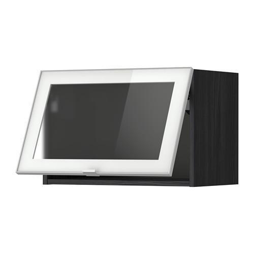 МЕТОД Гориз навесн шкаф со стекл дверью - 60x40 см, под дерево черный, Ютис матовое стекло/алюминий