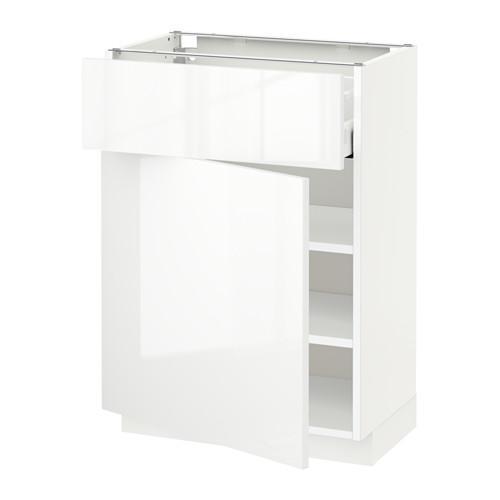 МЕТОД / МАКСИМЕРА Напольный шкаф с ящиком/дверью - 60x37 см, Рингульт глянцевый белый, белый