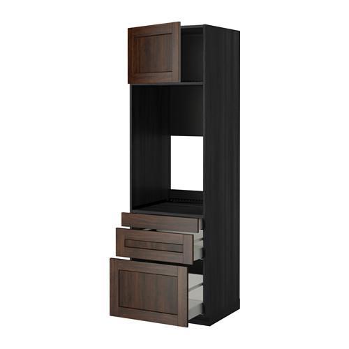МЕТОД / МАКСИМЕРА Выс шкаф д/двойн духовки/3ящ/дверца - 60x60x200 см, Эдсерум под дерево коричневый, под дерево черный