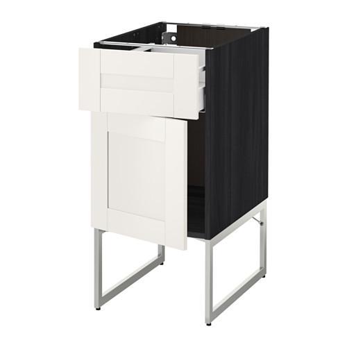 МЕТОД / МАКСИМЕРА Напольный шкаф с ящиком/дверью - 40x60x60 см, Сэведаль белый, под дерево черный
