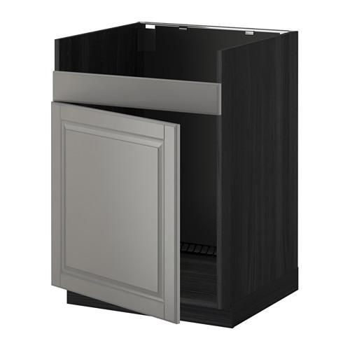 МЕТОД Нплн шкаф для одинарн мойки ДУМШЁ - Будбин серый, под дерево черный