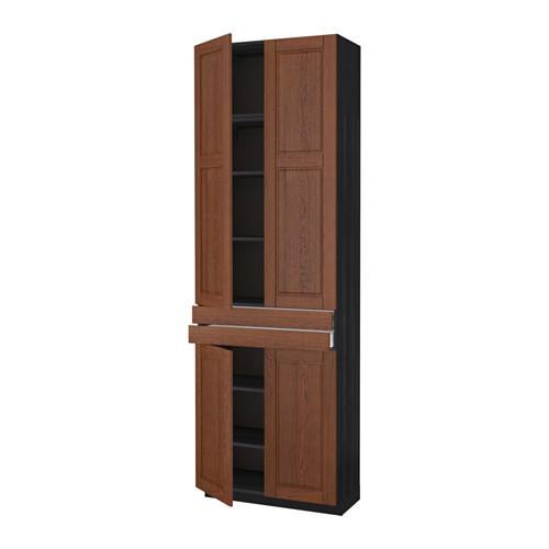 МЕТОД / МАКСИМЕРА Высокий шкаф+полки/2 ящика/4 дверцы - Филипстад коричневый, под дерево черный