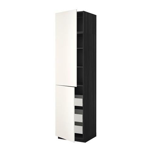 МЕТОД / МАКСИМЕРА Высокий шкаф+полки/3 ящика/2 дверцы - 60x60x240 см, Веддинге белый, под дерево черный