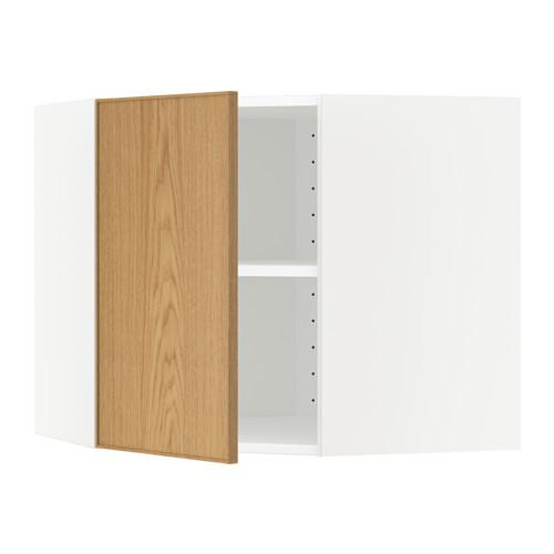 МЕТОД Угловой навесной шкаф с полками - 68x60 см, Экестад дуб, белый