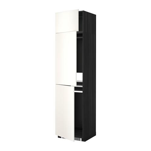 МЕТОД Выс шкаф для хол/мороз с 3 дверями - Веддинге белый, под дерево черный