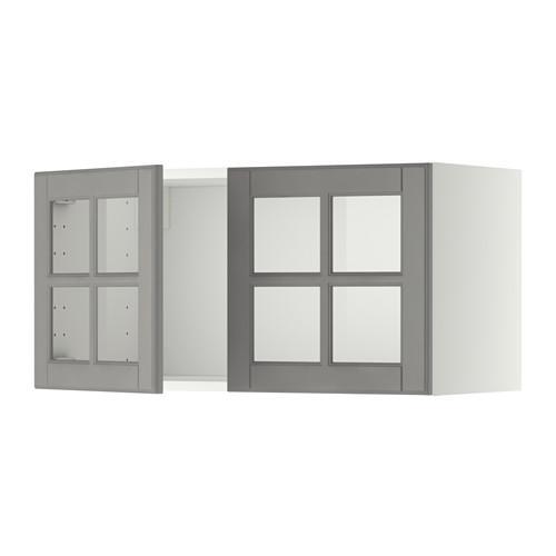 МЕТОД Навесной шкаф с 2 стеклянн дверями - белый, Будбин серый