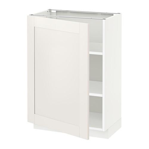 МЕТОД Напольный шкаф с полками - 60x37 см, Сэведаль белый, белый