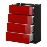 МЕТОД / ФОРВАРА Напольн шкаф 4 фронт панели/4 ящика - 60x37 см, Рингульт глянцевый красный, под дерево черный