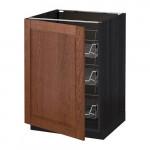 МЕТОД Напольный шкаф с проволочн ящиками - 60x60 см, Филипстад коричневый, под дерево черный