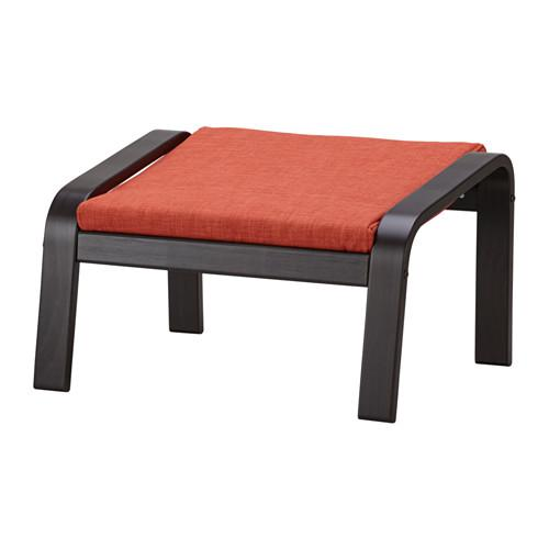 ПОЭНГ Табурет для ног - черно-коричневый, Шифтебу темно-оранжевый