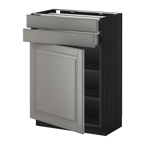 МЕТОД / МАКСИМЕРА Напольный шкаф с дверцей/2 ящиками - 60x37 см, Будбин серый, под дерево черный