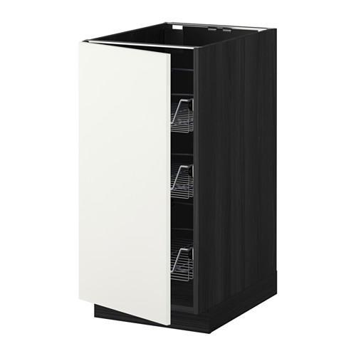 МЕТОД Напольный шкаф с проволочн ящиками - 40x60 см, Хэггеби белый, под дерево черный