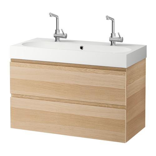 BRÅVIKEN / GODMORGON skrinka na umývadlo s zásuvkou 2, chrómovaná