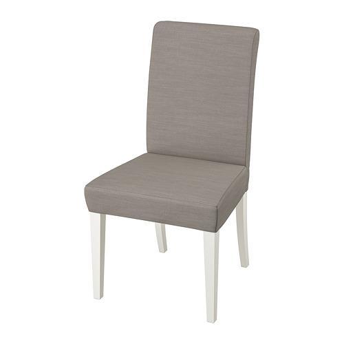 HENRIKSDAL chair white / Nolhaga gray-beige