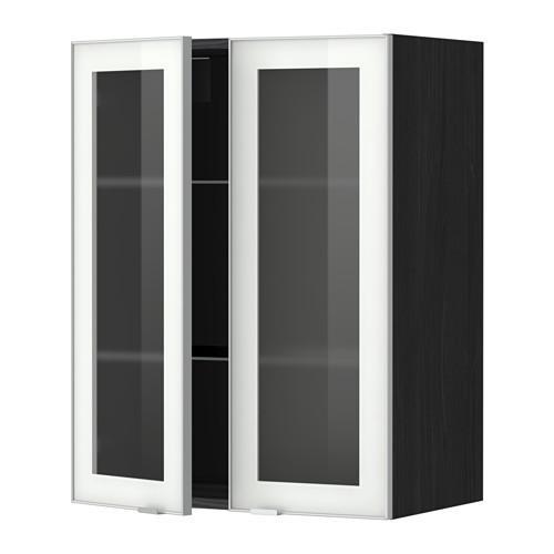 МЕТОД Навесной шкаф с полками/2 стекл дв - 60x80 см, Ютис матовое стекло/алюминий, под дерево черный