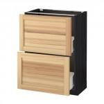 MÉTODO / FORVARA base del armario con cajones 2 - madera de color negro, Torhemn fresno natural, 60x37 cm