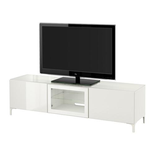 Bestå Tv Stand Avec Portes Blanc Selsviken Verre Brillant Blanc Clair 180x40x38 Cm Guides De Tiroir Pousser