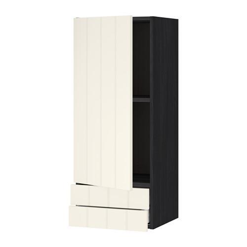 МЕТОД / МАКСИМЕРА Навесной шкаф с дверцей/2 ящика - 40x100 см, Хитарп белый с оттенком, под дерево черный