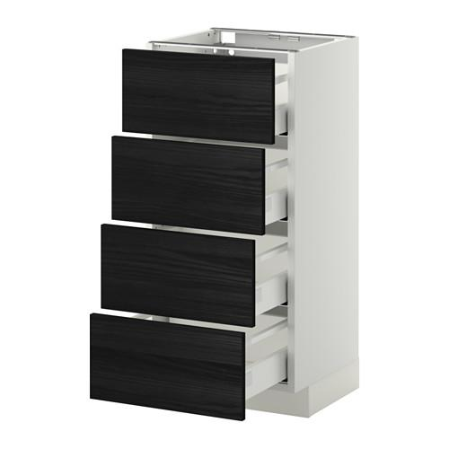 МЕТОД / МАКСИМЕРА Напольн шкаф 4 фронт панели/4 ящика - 40x37 см, Тингсрид под дерево черный, белый