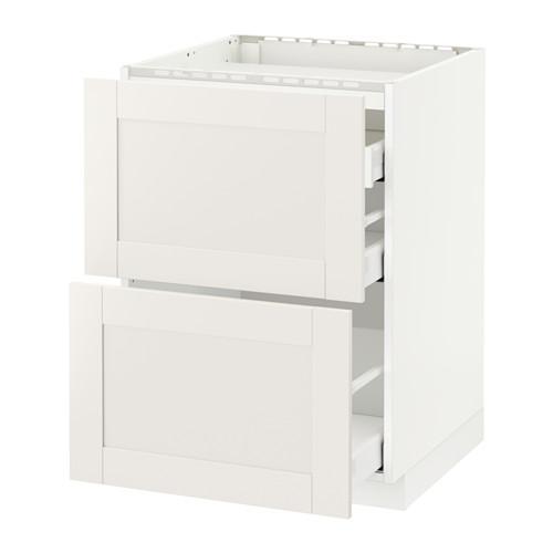МЕТОД / МАКСИМЕРА Напольн шкаф/2 фронт пнл/3 ящика - 60x60 см, Сэведаль белый, белый