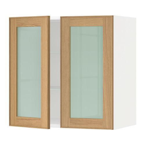 МЕТОД Навесной шкаф с полками/2 стекл дв - 60x60 см, Экестад дуб, белый