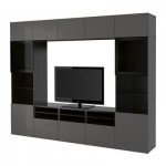 БЕСТО Шкаф для ТВ, комбин/стеклян дверцы - черно-коричневый/Сельсвикен глянцевый/серый прозрачное стекло, направляющие ящика, плавно закр