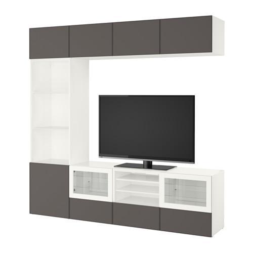 BESTÅ mueble TV, COMBINADO puerta / vidrio - vidrio blanco Grundsviken / gris oscuro transparente, guías de cajón, cierre suavemente