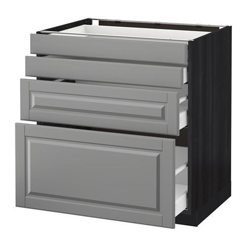 МЕТОД / МАКСИМЕРА Напольн шкаф 4 фронт панели/4 ящика - 80x60 см, Будбин серый, под дерево черный