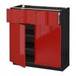 МЕТОД / ФОРВАРА Напольный шкаф+ящик/2дверцы - 80x37 см, Рингульт глянцевый красный, под дерево черный